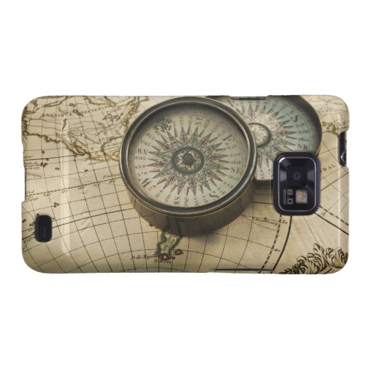Antique compass on map galaxy s2 cover