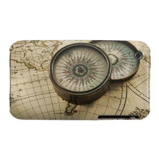 Antique compass on map iPhone 3 case