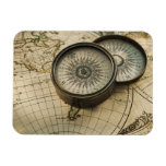 Antique compass on map rectangular photo magnet