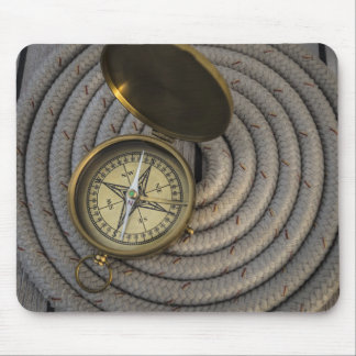 Antique Compass On Sailboat Deck Mouse Pad