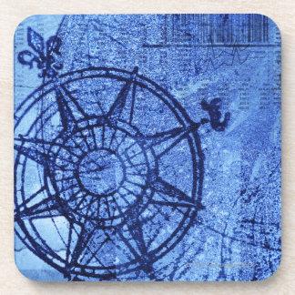 Antique compass rose coaster