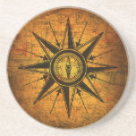 Antique Compass Rose Drink Coaster