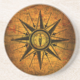 Antique Compass Rose Drink Coaster