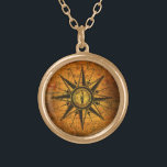 """Antique Compass Rose Gold Finish Necklace<br><div class=""""desc"""">An antique compass rose etching is on a unique background,  featuring an antique map of England overlaid on an antique book cover.</div>"""