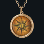 "Antique Compass Rose Gold Plated Necklace<br><div class=""desc"">An antique compass rose etching is on a unique background,  featuring an antique map of England overlaid on an antique book cover.</div>"