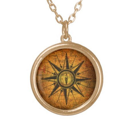 Antique Compass Rose Gold Plated Necklace