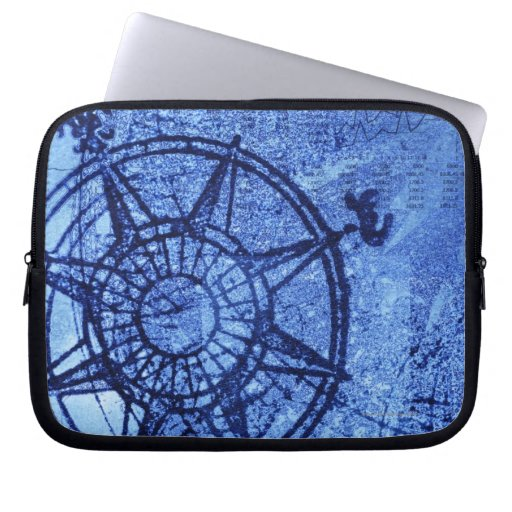 Antique compass rose laptop computer sleeves