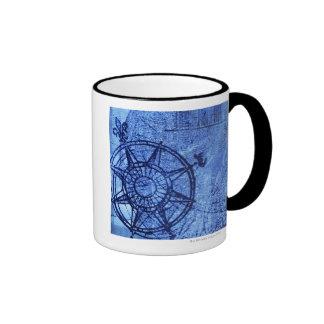 Antique compass rose ringer coffee mug