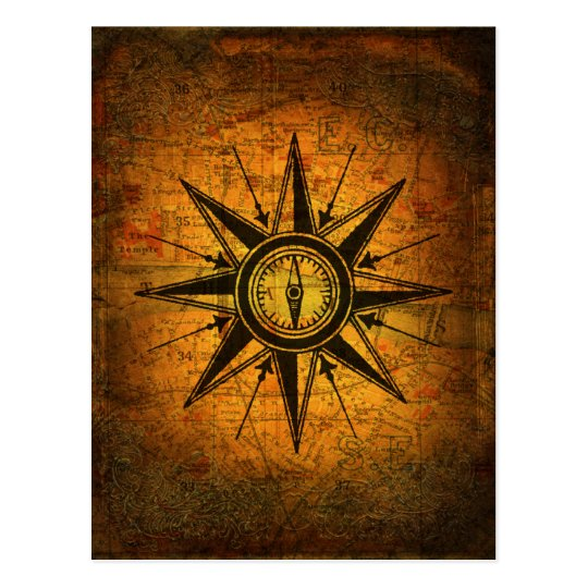Antique Compass Rose Postcard | Zazzle.com