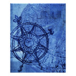 Antique compass rose posters