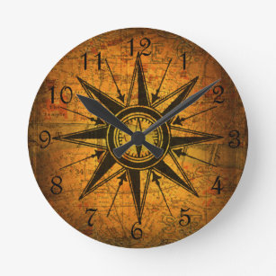 Compass Wall Clocks Zazzle