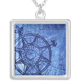 Antique compass rose square pendant necklace