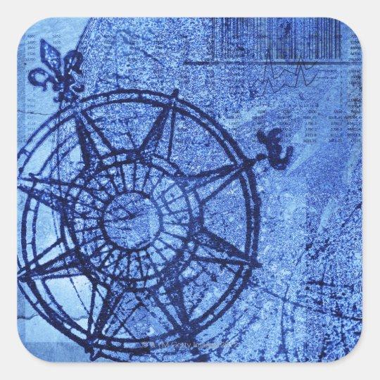 Antique compass rose square sticker