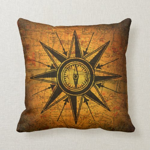 Antique Compass Rose Throw Pillow