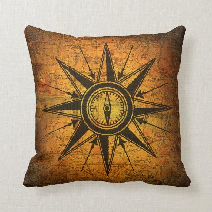 Antique Compass Rose Throw Pillow Zazzle