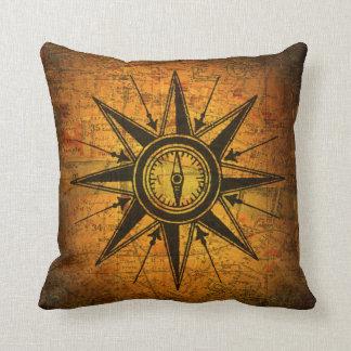 Antique Compass Rose Throw Pillow