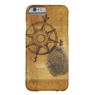 Antique compass rose with fingerprint barely there iPhone 6 case