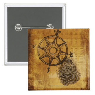 Antique compass rose with fingerprint button
