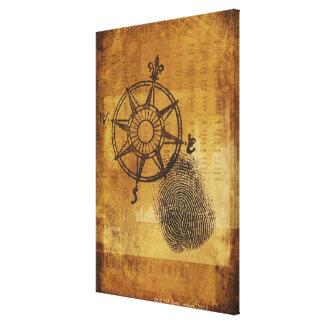Antique compass rose with fingerprint canvas print