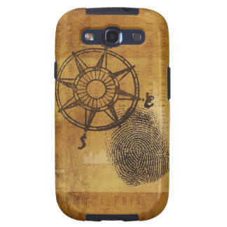Antique compass rose with fingerprint samsung galaxy SIII case