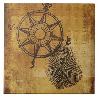 Antique compass rose with fingerprint ceramic tile