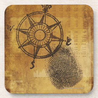 Antique compass rose with fingerprint coaster