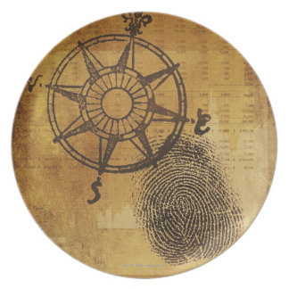 Antique compass rose with fingerprint dinner plate