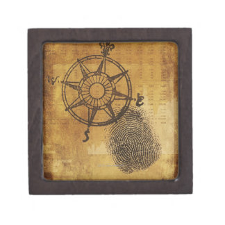 Antique compass rose with fingerprint gift box