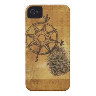 Antique compass rose with fingerprint iPhone 4 case