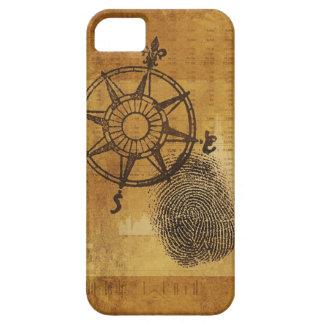 Antique compass rose with fingerprint iPhone SE/5/5s case