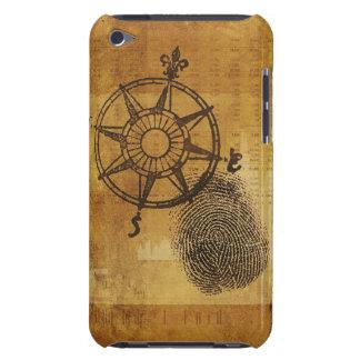 Antique compass rose with fingerprint iPod Case-Mate case