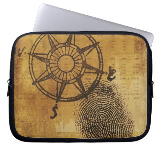 Antique compass rose with fingerprint laptop sleeves