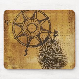 Antique compass rose with fingerprint mouse pad