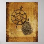 Antique compass rose with fingerprint poster