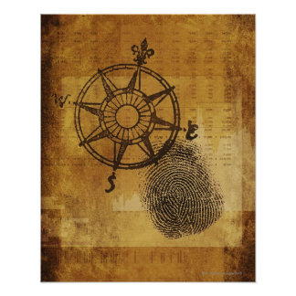Antique compass rose with fingerprint poster