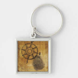 Antique compass rose with fingerprint Silver-Colored square keychain