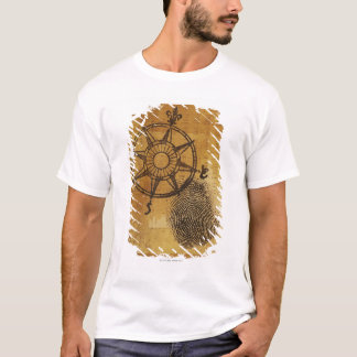 Antique compass rose with fingerprint T-Shirt