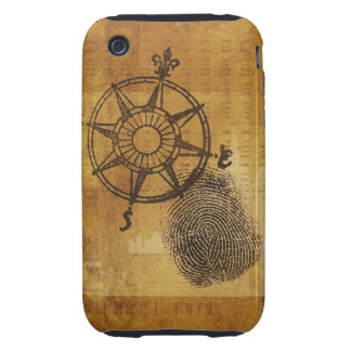 Antique compass rose with fingerprint tough iPhone 3 cover