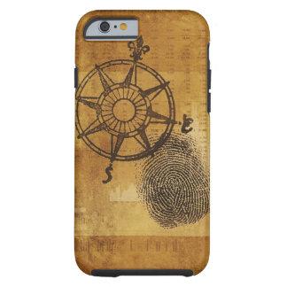 Antique compass rose with fingerprint tough iPhone 6 case