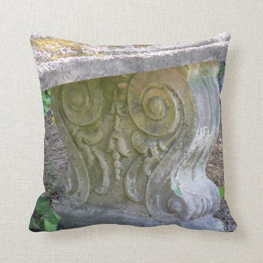 Throw Pillows On Clearance : Antique Concrete Bench Throw Pillows Zazzle