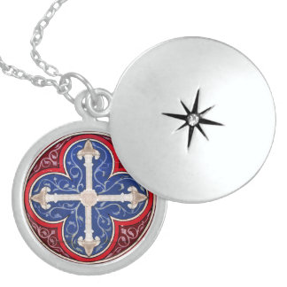 ANTIQUE CONSECRATION CROSS ROUND LOCKET NECKLACE