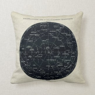 Antique Constellation and Night Sky Star Chart Throw Pillow