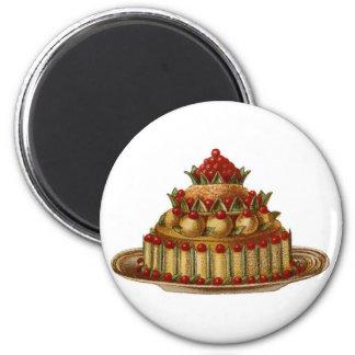 Antique Cookery Fancy Dessert cherry Pie 2 Inch Round Magnet