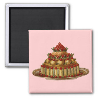 Antique Cookery Fancy Dessert cherry Pie 2 Inch Square Magnet