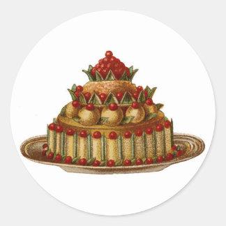 Antique Cookery Fancy Dessert cherry Pie Classic Round Sticker