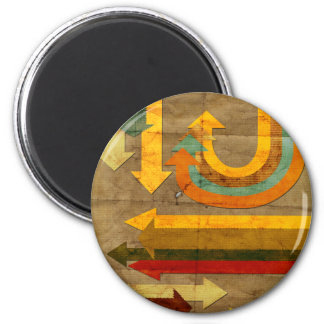 Antique coolcolorful arrows shapes old paper 2 inch round magnet