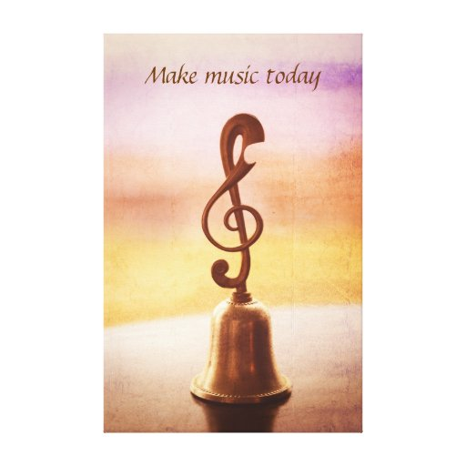 Antique Copper Handbell with G-Clef Handle Canvas Prints