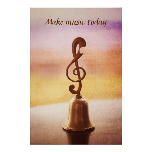 Antique Copper Handbell with G-Clef Handle Print