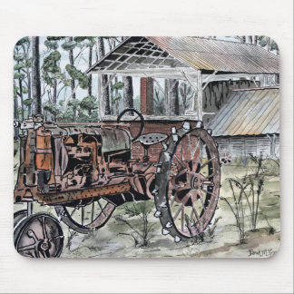 antique country farm tractor fok art mouse pad