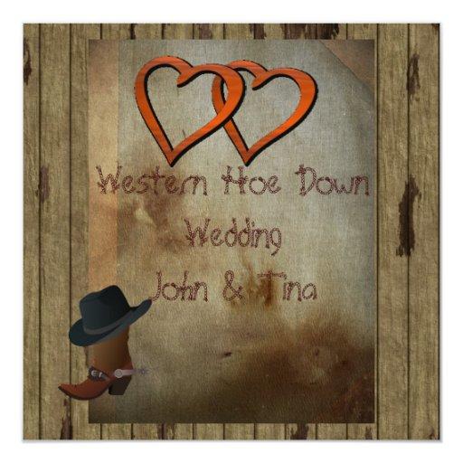 """ANTIQUE COUNTRY WEDDING  INVITATION 5.25"""" SQUARE INVITATION CARD"""